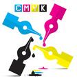 CMYK Pen Symbols Isolated on White vector image