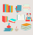 books set icon in flat design style collection vector image