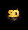 90 number icon design with golden star and glitter vector image vector image