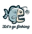 anglerfish logo fishing angling or fish vector image vector image