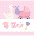 bashower stork with purple diaper pram clothes vector image