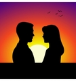 black couple silhouettes in front sunset vector image vector image