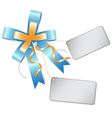 blue ribbon bow and label vector image