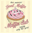 card with pink fruit muffin vector image vector image