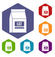 cat food bag icons set hexagon vector image vector image