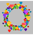 Circle frame with hearts on grey background for vector image