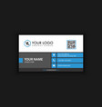 clean blue business card vector image vector image