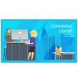 coworking reception man invite woman banner vector image vector image