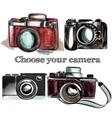 cute hand drawn vintage cameras set vector image vector image