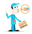 delivery man with parcel vector image vector image