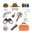 detective items set tec agent accessories vector image vector image