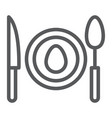 dinner line icon food and dishware plate sign vector image