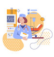 female doctor in clinic flat stylized vector image vector image