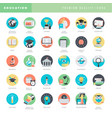 flat design icons for education vector image vector image