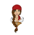 Funny girl pirate in the red bandana vector image