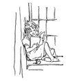 girl reading sitting vintage engraving vector image vector image