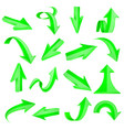 green 3d arrows straight and bent icons vector image vector image