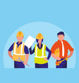 group of workers industrials avatar character vector image vector image