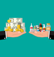 hand scales with money and drugs vector image vector image