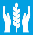 hands and ear of wheat icon white vector image vector image