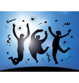 happy jumping group people silhouette and sky vector image vector image