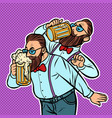 hipster drinking a mug beer vector image vector image