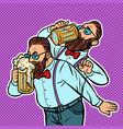 hipster drinking a mug beer vector image