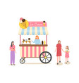 ice cream business shop with frozen dessert meal vector image vector image