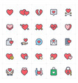 icon set - heart full color vector image vector image