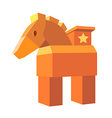 icon wood horse vector image