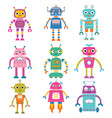 isolated cute cartoon robots set vector image