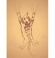 Kitten Scratching Sketch3 vector image vector image
