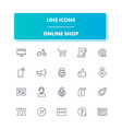line icons set online shop vector image vector image