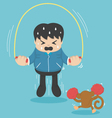 man jumping on ropes vector image