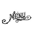 menu vintage lettering vector image