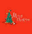 merry christmas card of people making xmas tree vector image vector image