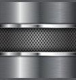 metal chrome brushed background with perforation vector image vector image
