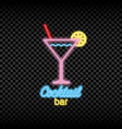 neon light sign cocktail bar vector image vector image