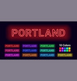 neon name of portland city vector image