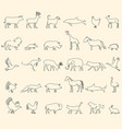 One line animals set logos stock