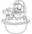 outlined teddy bear taking a bath vector image vector image