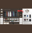 realistic male wardrobe room modern concept vector image vector image