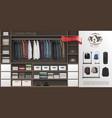 realistic male wardrobe room modern concept vector image