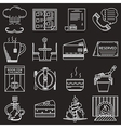 Restaurant service white line icons vector image