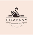 retro swan fork restaurant cafe logo icon vector image vector image