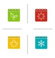 seasons calendar glyph color icon set vector image