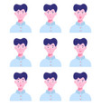 set male avatars with different emotions vector image
