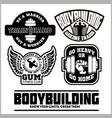 set of bodybuilding emblems in black colour vector image vector image