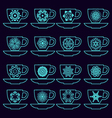 Set of collection cups with mandalas vector image vector image
