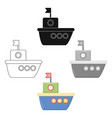 ship cartoonblack icon for web and vector image vector image